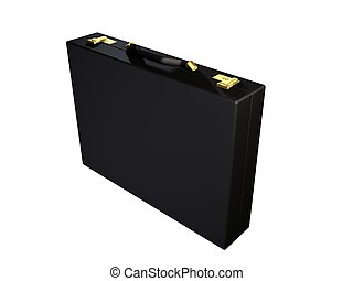 executive case - 3d rendered illustration of a black leather...