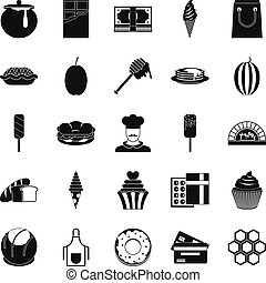 Executive chef icons set, simple style