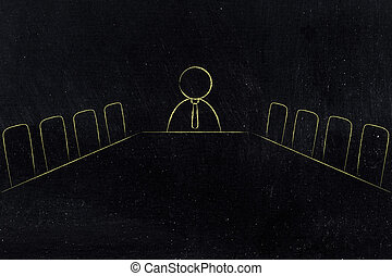 company meeting room with employee at the end of the desk - ...