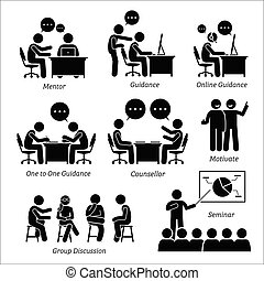 executive., entraîneur, direction, business, mentor