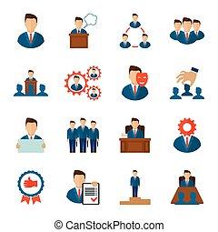 Executive icons flat - Executive employee people management...