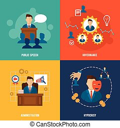 Executive icons flat - Executive flat icons set with public...