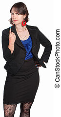 Executive in Black Gesturing - Tough young businesswoman...