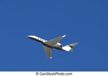 Executive jet aircraft in flight