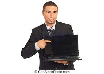 Executive man pointing to laptop screen