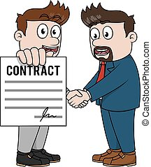 Executive man showing contract
