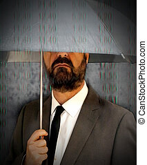 Executive man with umbrella covering himself of a rain of red number