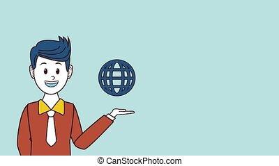 Executive marketing worker HD animation