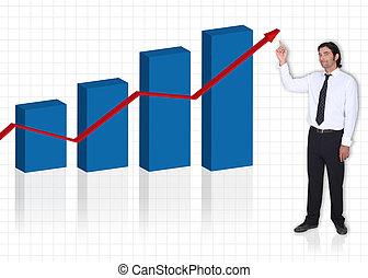 executive pointing at bar graph