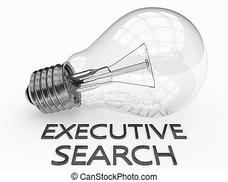 Executive Search - lightbulb on white background with text...