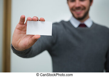 Executive showing empty business card
