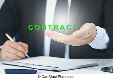 executive signing with the concept of contract and work