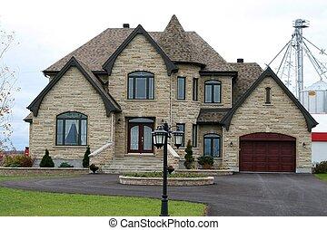 Executive stone house with turret - Executive stone house...
