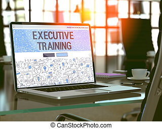 Executive Training Concept on Laptop Screen.