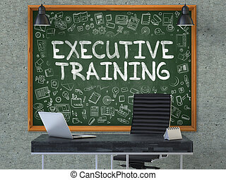 Executive Training - Hand Drawn on Green Chalkboard.