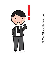 executive with exclamation mark over white background. vector