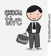 executive with suitcase over white background. vector illustration