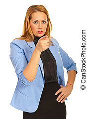 Executive woman pointing to you