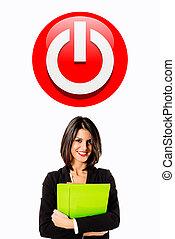 executive woman power button