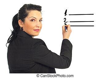 Executive woman writing on white space - Executive woman ...
