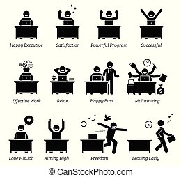Executive working in an efficient office workplace. The worker is happy, satisfied, successful, and enjoying the works.