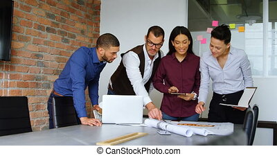Executives discussing over blueprint 4k - Executives ...