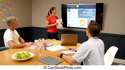 Executives discussing over lcd screen in conference room 4k...