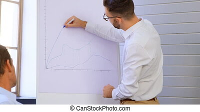 Executives discussing over whiteboard in conference room 4k...