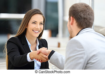 Executives handshaking in a coffee shop - Two executives ...