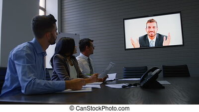 Executives making video conferencing in office 4k -...