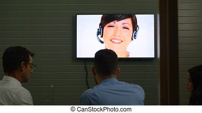 Executives making video conferencing in office 4k - Rear...