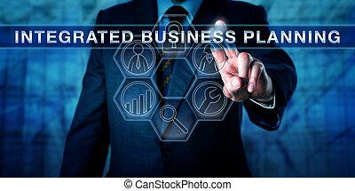 executivo, apertando, integrada, negócio, planificação