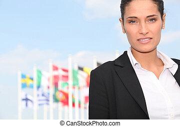 executivo, frente, mulher, bandeiras