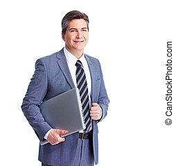 executivo, homem negócios, laptop.