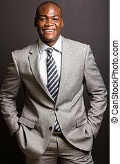 executivo, jovem, negócio, africano
