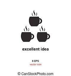 Exellent idea icon - Coffee with idea concept, exellent idea...