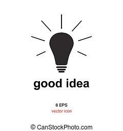 Exellent idea lamp icon - Light lamp sign icon or idea...