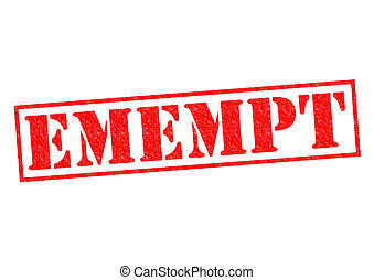 EXEMPT red Rubber Stamp over a white background.