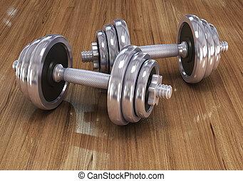 exercício aptidão, equipamento, dumbbell