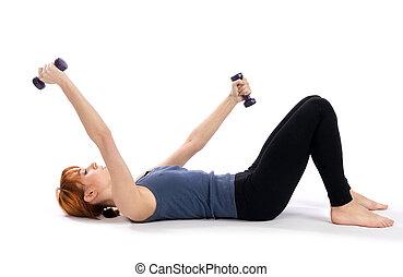 exercício aptidão, mulher, aeróbico
