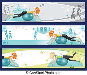 exercício, banners., pilates