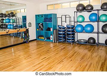 exercício grupo, sala, com, equipamento treinamento