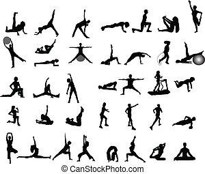 exercício, ilustrações