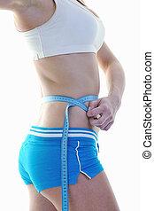 exercício, mulher, condicão física, loiro