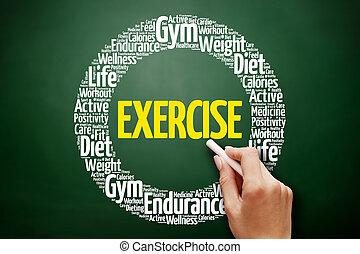 exercício, palavra, nuvem, colagem