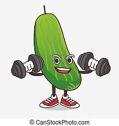exercício, pepino, personagem, tentando, mascote, condicão física, caricatura, barbells