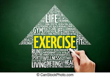 exercício, seta, palavra, nuvem