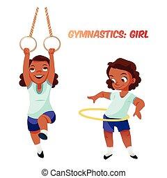 exercícios, americano, menina, ginástico, africano