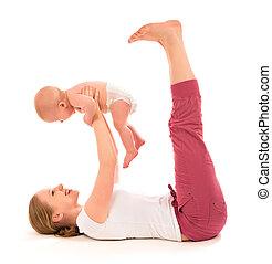 exercícios, bebê, ioga, ginástica, mãe