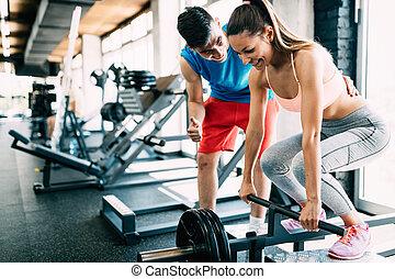 exercícios, ginásio, mulher, atrractive